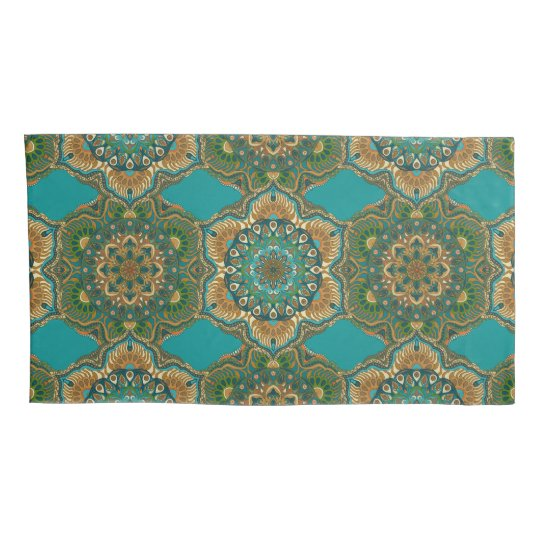 Colourful abstract ethnic floral mandala pattern pillowcase