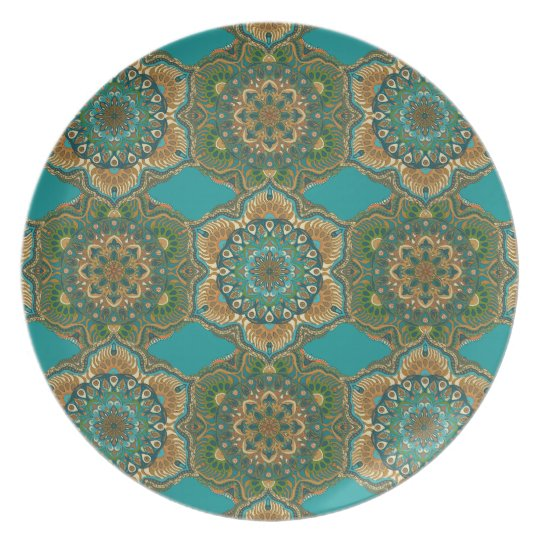 Colourful abstract ethnic floral mandala pattern plate