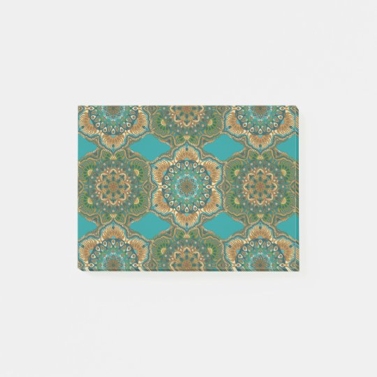 Colourful abstract ethnic floral mandala pattern post-it notes