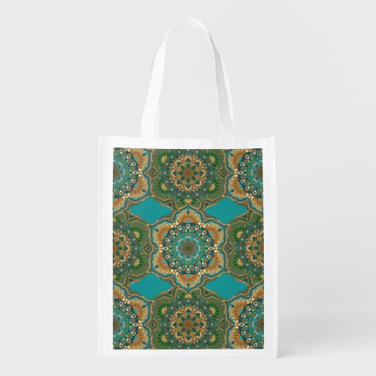 Colourful abstract ethnic floral mandala pattern reusable grocery bag
