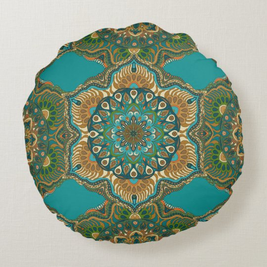 Colourful abstract ethnic floral mandala pattern round pillow