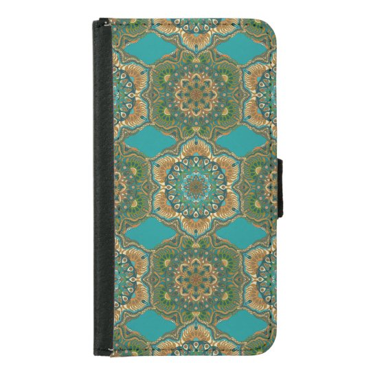 Colourful abstract ethnic floral mandala pattern samsung galaxy s5 wallet case