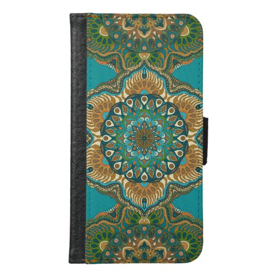 Colourful abstract ethnic floral mandala pattern samsung galaxy s6 wallet case