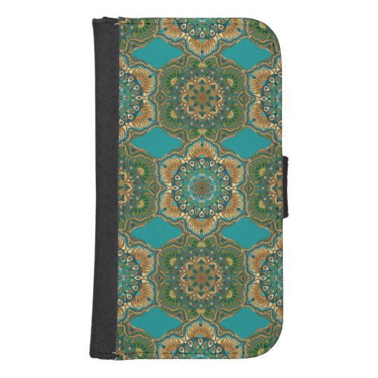 Colourful abstract ethnic floral mandala pattern samsung s4 wallet case