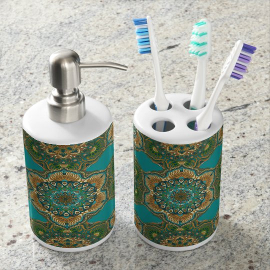 Colourful abstract ethnic floral mandala pattern soap dispenser and toothbrush holder
