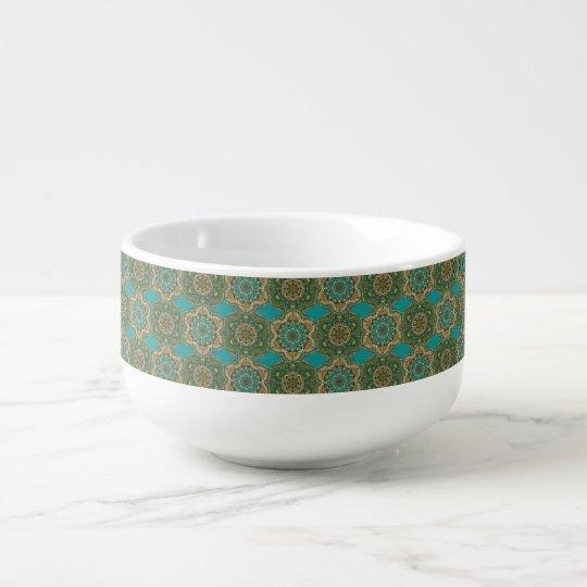 Colourful abstract ethnic floral mandala pattern soup mug
