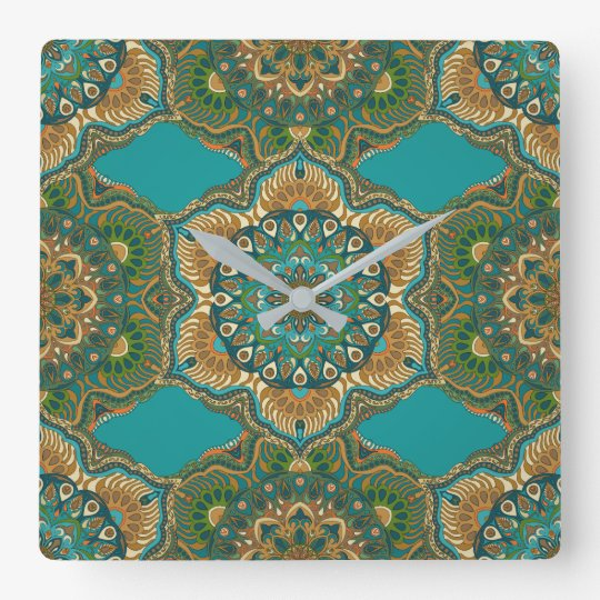 Colourful abstract ethnic floral mandala pattern square wall clock