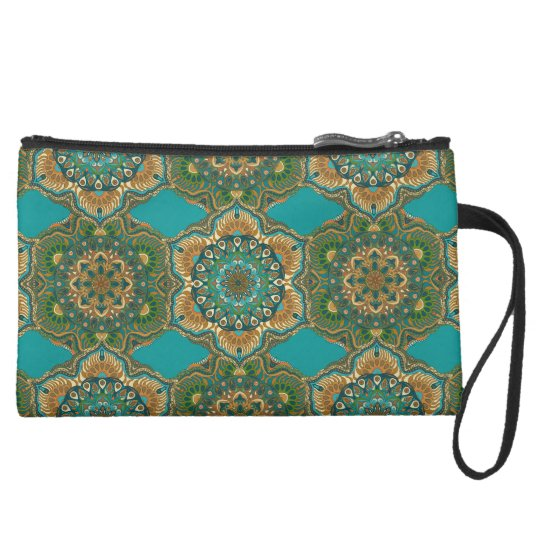 Colourful abstract ethnic floral mandala pattern suede wristlet