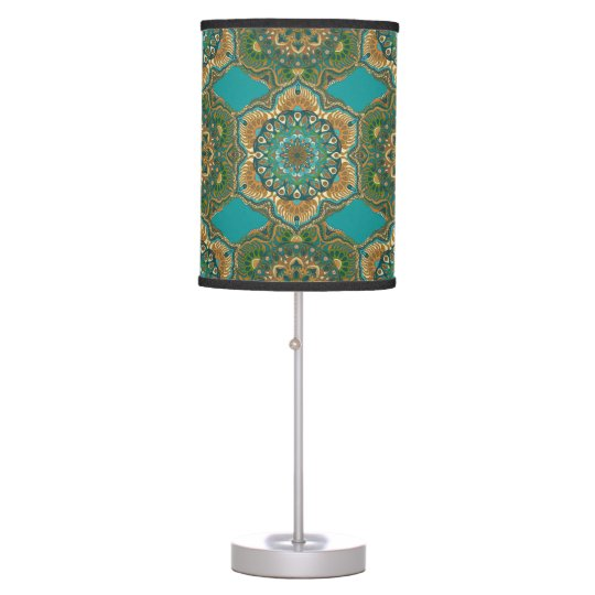 Colourful abstract ethnic floral mandala pattern table lamp