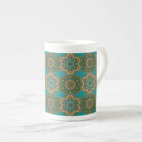 Colourful abstract ethnic floral mandala pattern tea cup