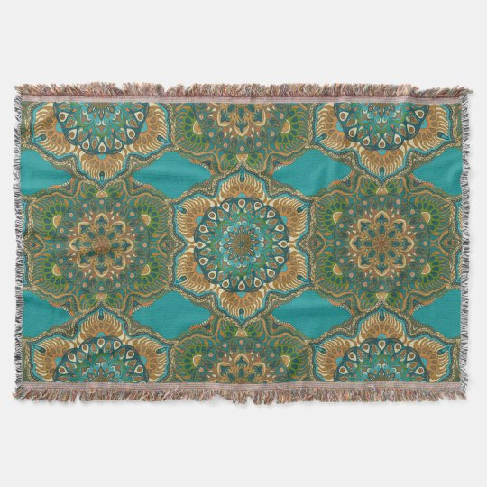 Colourful abstract ethnic floral mandala pattern throw blanket
