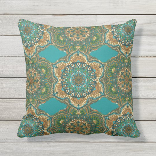 Colourful abstract ethnic floral mandala pattern throw pillow