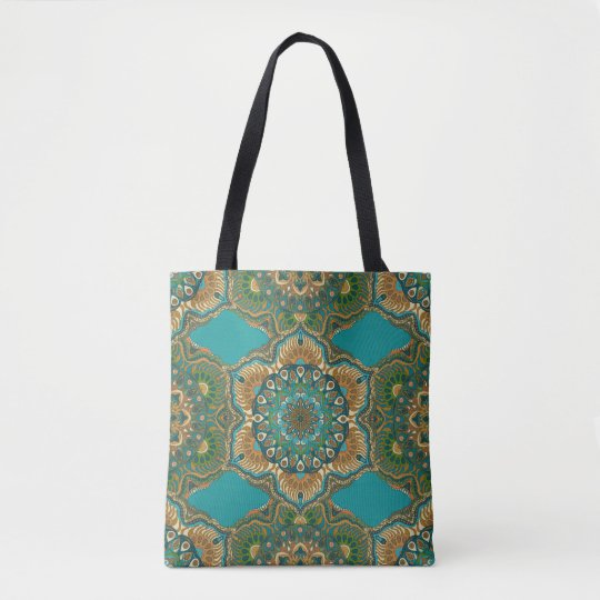 Colourful abstract ethnic floral mandala pattern tote bag