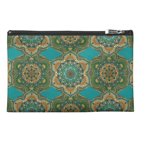 Colourful abstract ethnic floral mandala pattern travel accessory bag