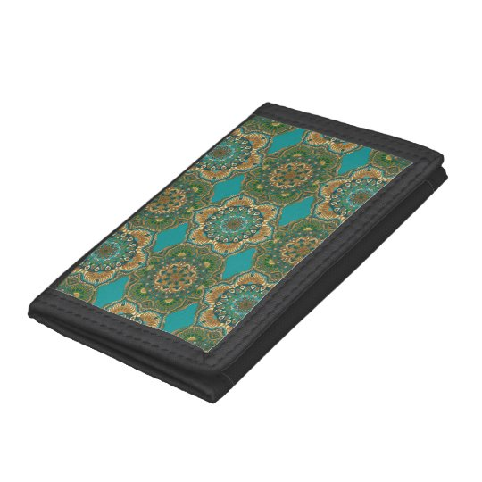 Colourful abstract ethnic floral mandala pattern tri-fold wallet