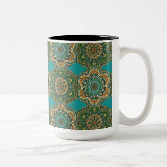 Colourful abstract ethnic floral mandala pattern Two-Tone coffee mug