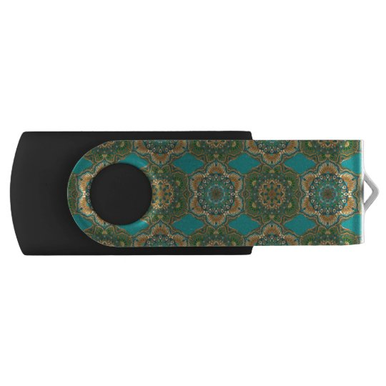 Colourful abstract ethnic floral mandala pattern USB flash drive