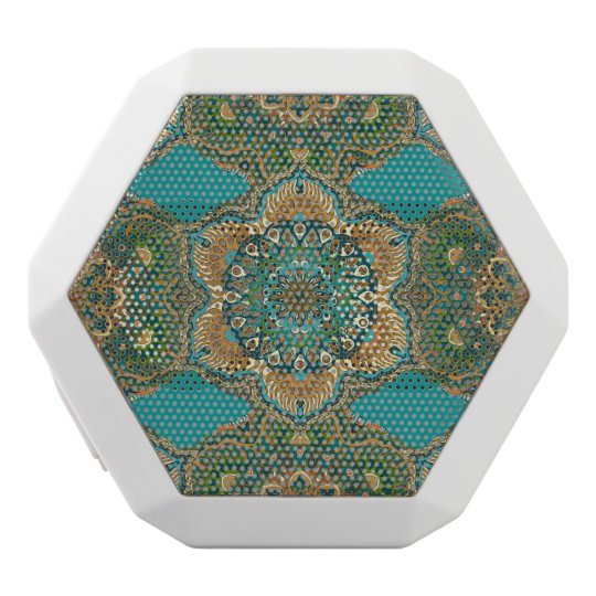 Colourful abstract ethnic floral mandala pattern white bluetooth speaker