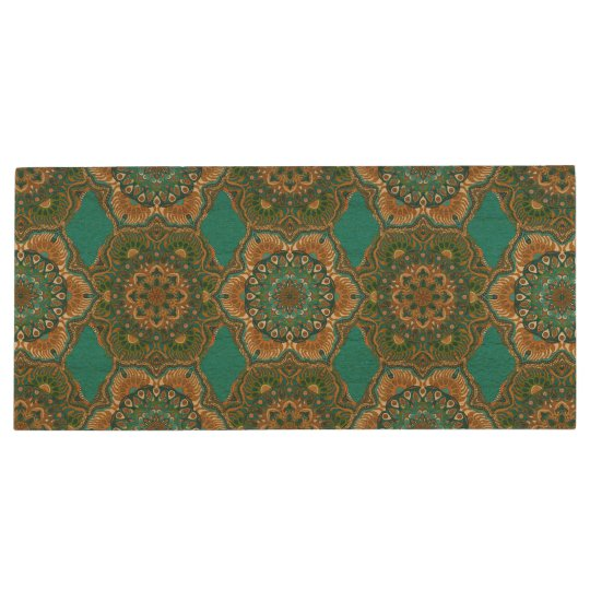 Colourful abstract ethnic floral mandala pattern wood USB flash drive