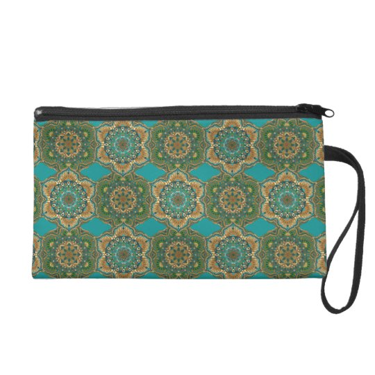 Colourful abstract ethnic floral mandala pattern wristlet