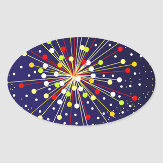 Colourful Abstract Explosion Oval Sticker