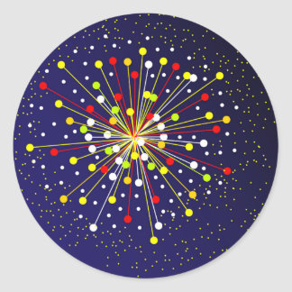 Colourful Abstract Explosion Round Sticker