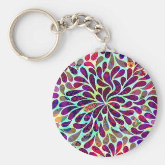 Colourful Abstract Floral Design Basic Round Button Keychain