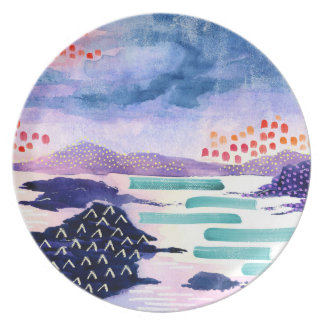 Colourful Abstract Landscape Painting Plate