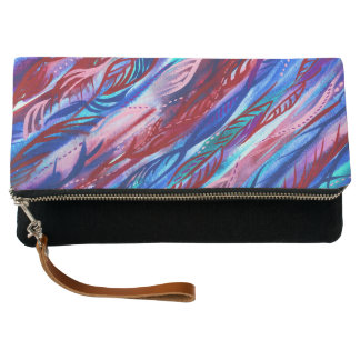 Colourful Abstract Leaf Watercolor Foldover Clutch