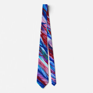 Colourful Abstract Leaf Watercolor Necktie