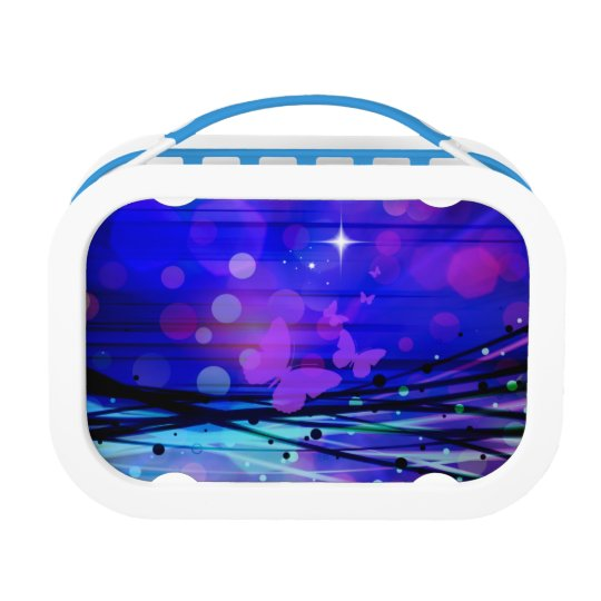 Colourful Abstract Light Rays Butterflies Bubbles Lunch Box