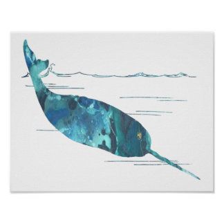 Colourful abstract narwhal silhouette poster