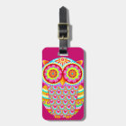 Colourful Abstract Owl Luggage Tag
