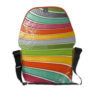 Colourful Abstract Rainbow Swirls Stars Art Vector Messenger Bag
