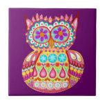 Colourful Abstract Retro Owl Ceramic Tile