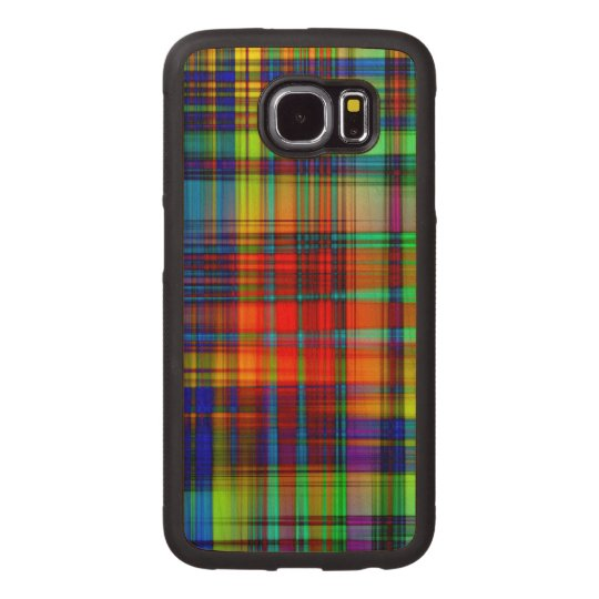 Colourful Abstract Stripes Art Wood Phone Case