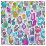Colourful Abstract Watercolor Leopard Print Fabric