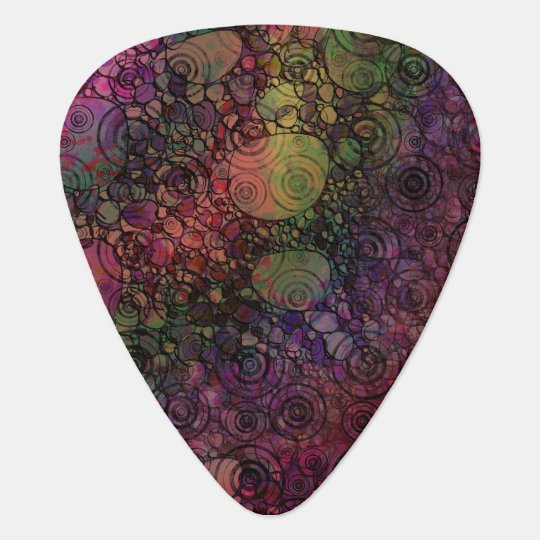 Colourful Abstract with Black & Grungy Circles Guitar Pick