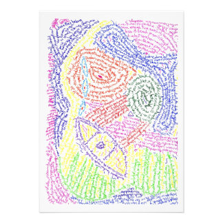 Colourful abstract word drawing image color personalized invite