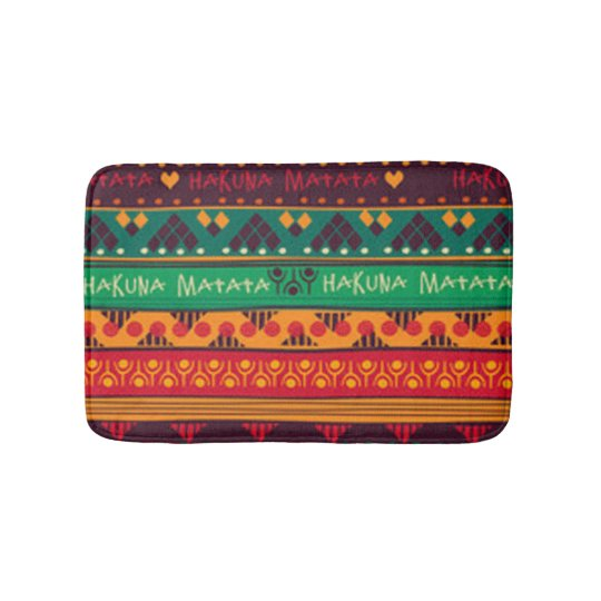 Colourful African No Worries Typography Bath Mat