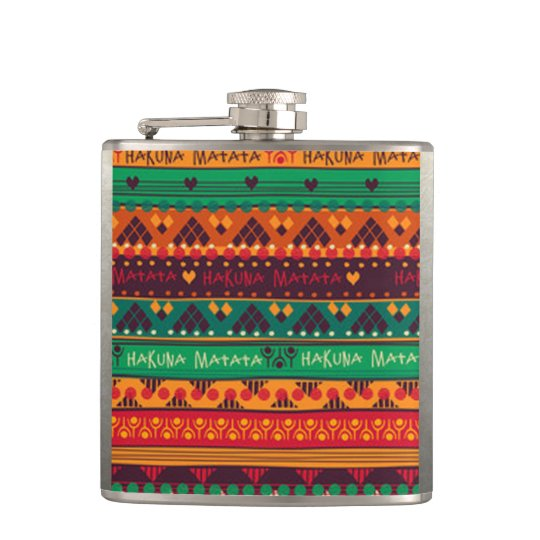 Colourful African No Worries Typography Hip Flask