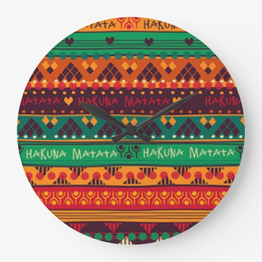 Colourful African No Worries Typography Large Clock