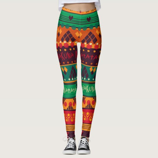 Colourful African No Worries Typography Leggings