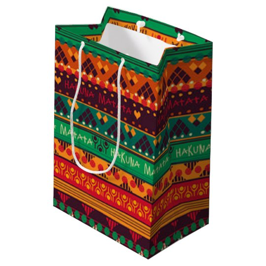 Colourful African No Worries Typography Medium Gift Bag