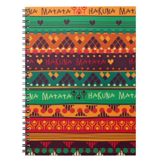 Colourful African No Worries Typography Notebook