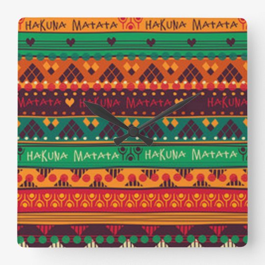 Colourful African No Worries Typography Square Wall Clock