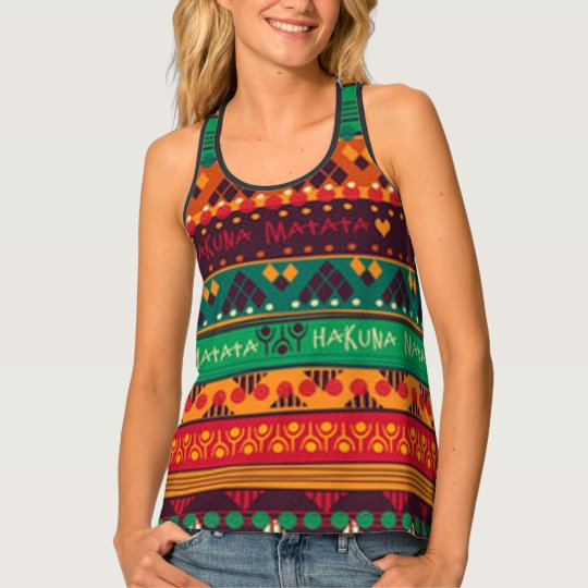 Colourful African No Worries Typography Tank Top