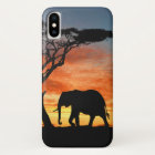 Colourful African Safari Sunset Elephant iPhone X Case