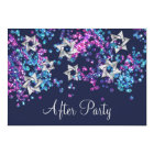 Colourful After Party Silver Star Glittery Card