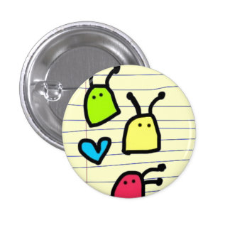 colourful alien blobs doodle 1 inch round button